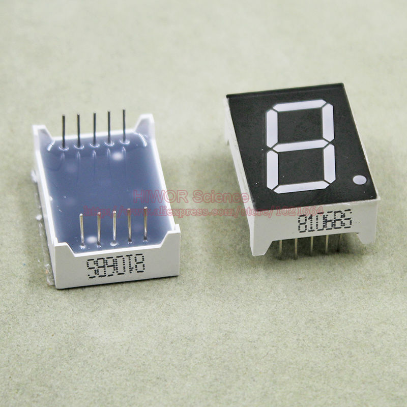(10pcs/lot) 10 Pins 8011BR 0.8 Inch 1 Bit Digit 7 Segment Red LED Display Share Common Anode Digital Display
