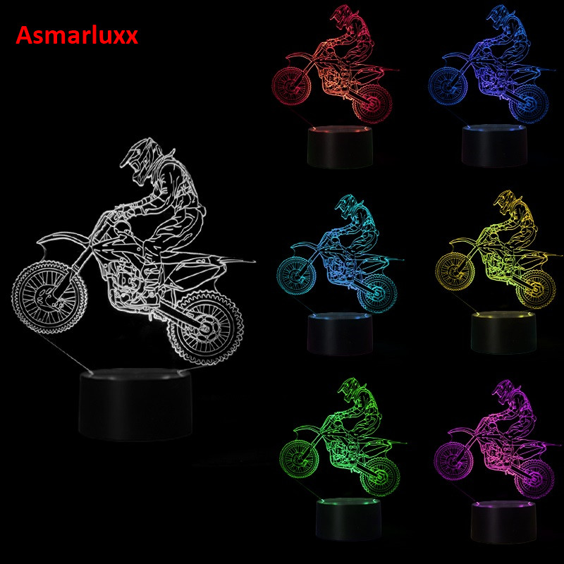 Luzes da Noite mesa 3d usb 7 cores Item Name : 3d Motocross Bike Night Lights