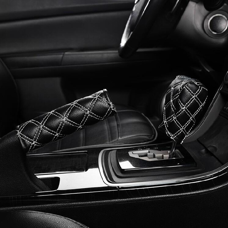 Encell Universal PU Leather Auto Car Hand Brake Cover & Gear Shift Stick Cover Car Styling Accessories Handbrake Grips