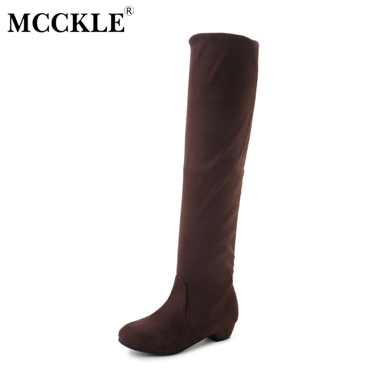 MCCKLE Women's Fashion Suede Winter Over The Knee High Botas Female Slip On Low Heel Solid Two Ways Sxey Thigh High Boots 2016 fashion women winter shoes big size 30 50 low heel botas slip on stretch thin leg over the knee boots 30 31 32 33 hqw a98