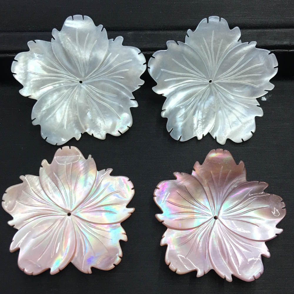 40mm Carved Shell Flower Charms Center Drilled Shell Stone Focal Beads DIY Shell Stuff Findings 10