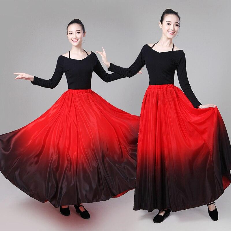 90cm 85cm 80cm Big Hem 720 Spring Summer Long Retro Silk Skirts Satin Female Maxi Long Skirts Womens Gradient Color Black Red in Skirts from Women 39 s Clothing