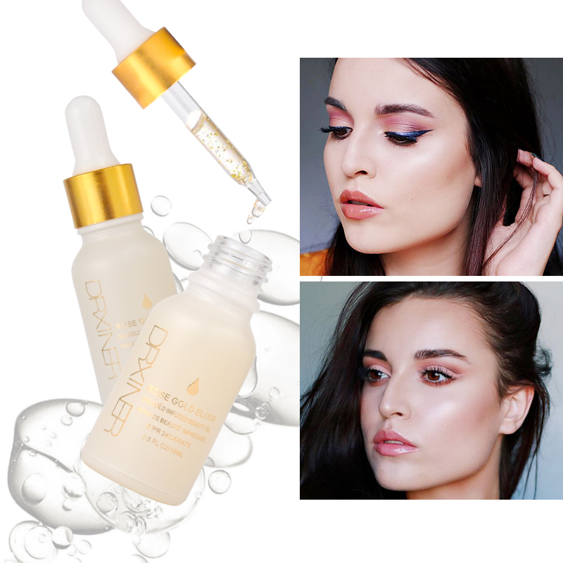 Drxiner maquillage primer huile pour le visage 24 k Or Rose Elixir Peau Maquillage Huile Pour Le Visage Essentiel Huile d'or avant Amorce Fondation