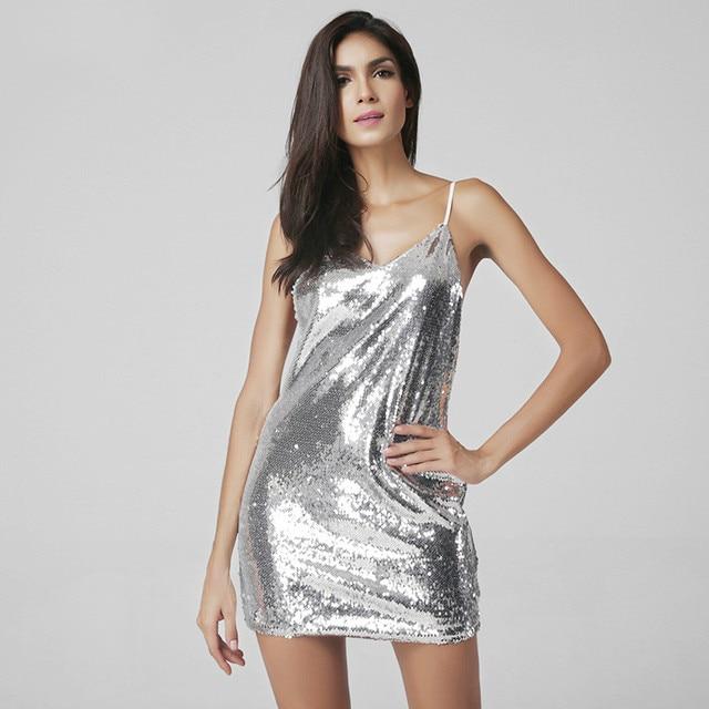5fa139e790bb € 20.84 |Vestido de verano de las mujeres más el tamaño plateado  Lentejuelas elegante vestido de fiesta casual mini Vestido corto Vestidos  tanque ...