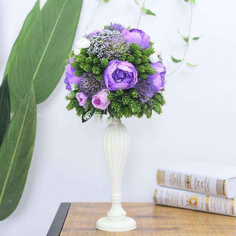 Flone casamento mesa de madeira peça central flores adereços com vaso estrada chumbo flor bola decoração artificial flor hotel christma - 4