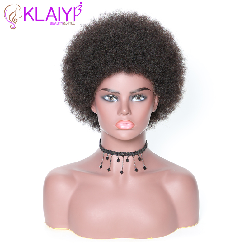 Klaiyi Hair Afro Kinky Curly Hair Wig 8 INCH Brazilian Short Hair Wigs Human Remy Hair Natural Color Avaliable