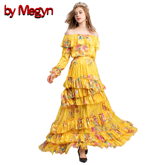6efe63c8d16d by Megyn women two piece sets 2018 sexy off shoulder floral print blouses  and elegant irregular layered ruffle long skirts sets