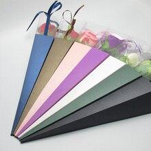Красочные конусные одиночные цветы бумажный мешок хранения с шелковой лентой флорист цветок упаковка хранения для Фестиваля Свадьбы 42 см