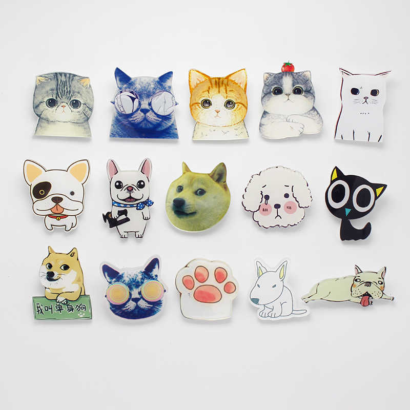 49deaae5d Kawaii Cat Single Dog Acrylic Badges For Clothing Backpack Plastic Tiny Cute  Animal Pin Brooches For