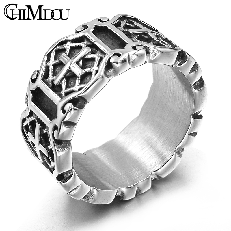 CHIMDOU Classic Retro Christian Jesus Stainless Steel Cross Ring Christian Believers Punk Rock Men's Rings Jewelry,AR464 image