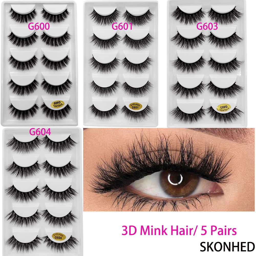 50102a4fed4 Detail Feedback Questions about 5 Pairs 3D Mink Hair False Eyelashes Thick  Long Cross Lashes Natural Wispy Flutter Lashes Makeup Extension Tools on ...