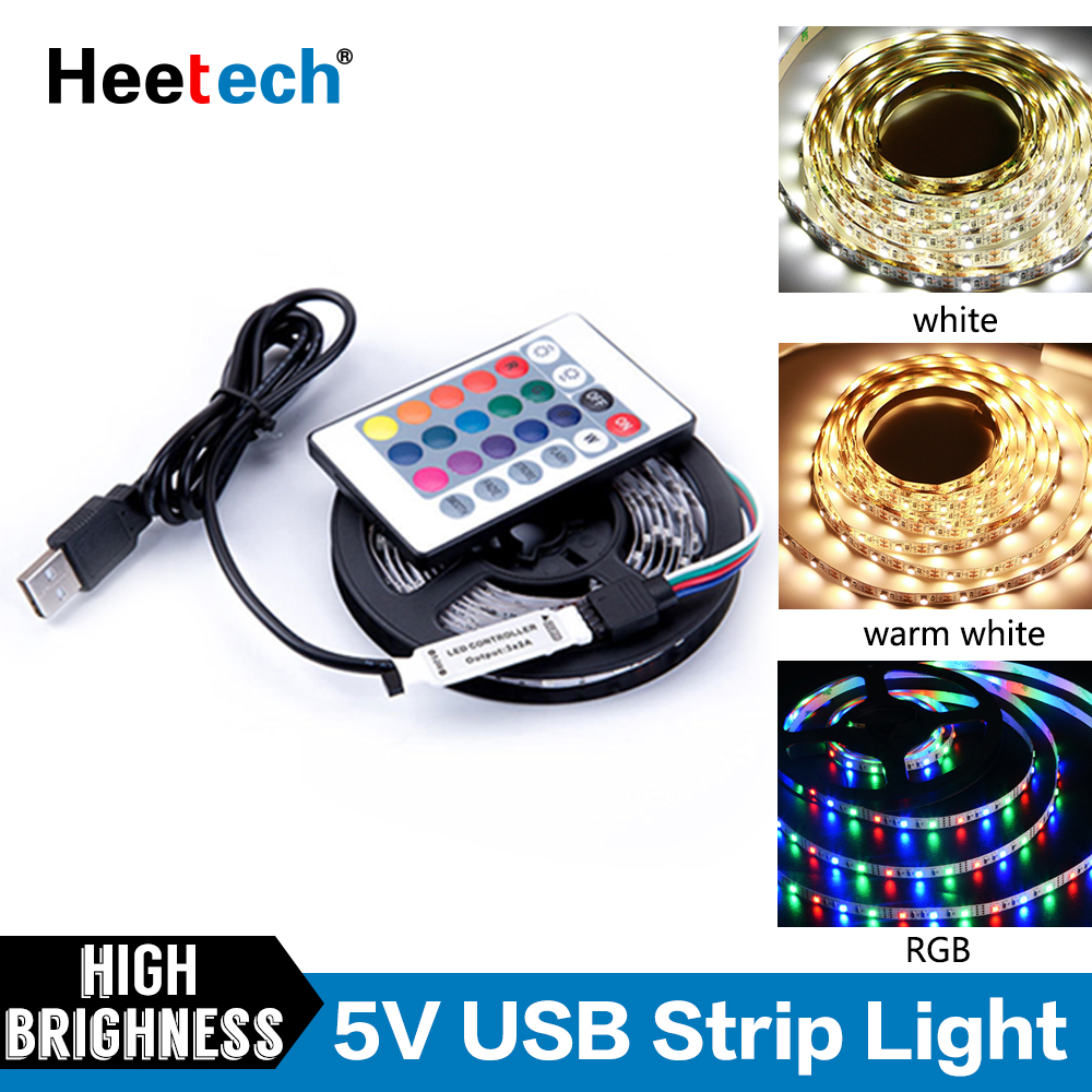 5V LED Strip Light USB Cable Power Light RGB/Warm White Flexible LED Light Tape Ribbon TV Desktop PC Screen Lighting 1M 2M 4M 5M