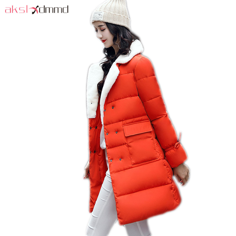 AKSLXDMMD Fashion Winter Coat Female 2017 New Thick Camel Mid-long Jacket Student Winter Jacket Women Parkas Mujer LH1218 akslxdmmd parkas mujer back printed thick witner women jacket 2017 new fashion slim fur collar hoodies long coat female lh1065