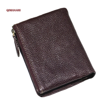 2017 New Men Wallet Genuine Leather Coin Purse and Holder for Men's Coin Pocket Purse High Quality Male Card ID Holder carteira
