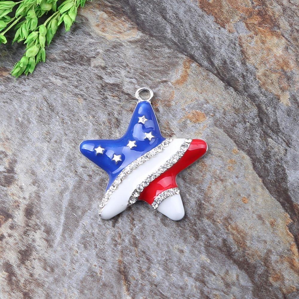 10Pcs Lot Quality Silver Plating Zinc Alloy The National Day Style Stars Rhinestone Ribbon font b