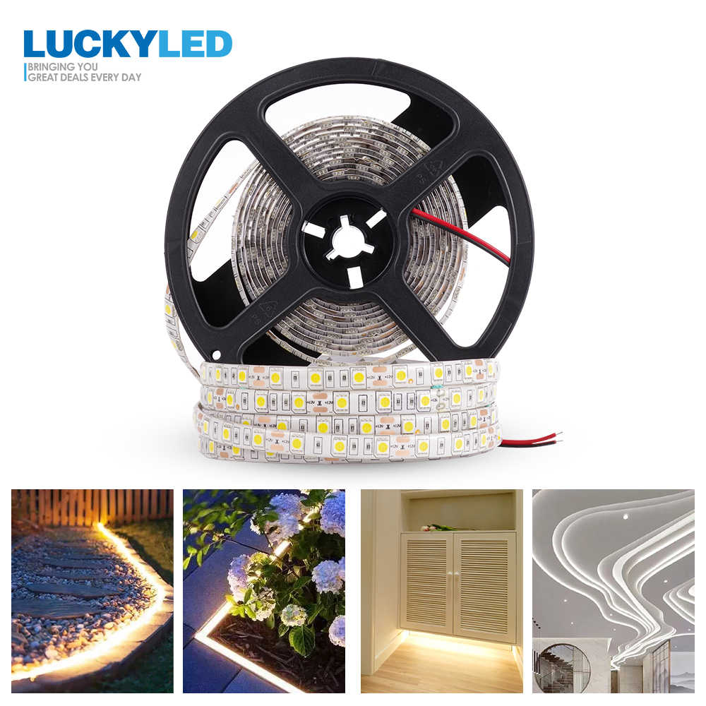 LUCKYLED LED Strip 5050 SMD Waterproof 12V 5M Flexible RGB LED Strips Diode Tape Ribbon LED Light Strip 60leds/m LED Stripe