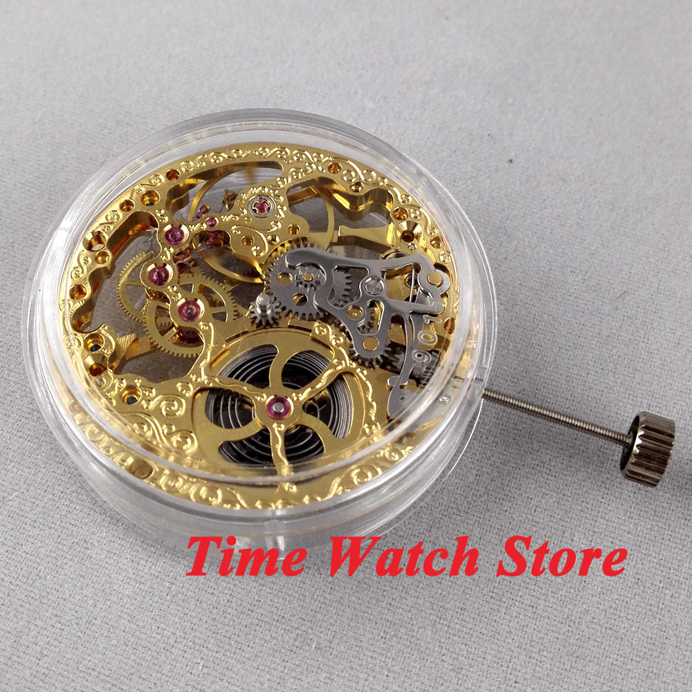 Parnis 17 Jewels Golden Asian Full Skeleton Fit Men's Watch 6497 Hand-Winding Movement M4