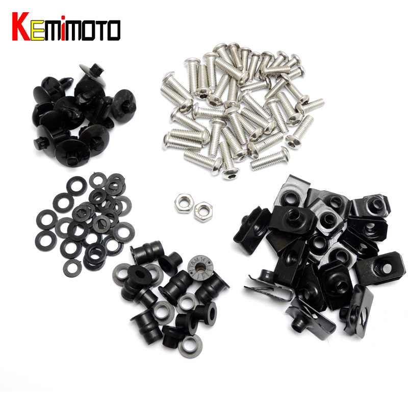 KEMiMOTO Motorcycle Fairing Bolt Screw Nuts Washers Fastener Fixation for Yamaha YZF R1 1998 1999 2000 2001 Complete Kit