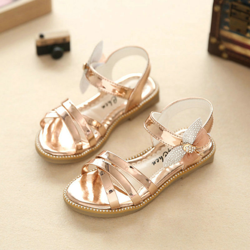 Girls Princess Sandals 2018 New Summer Brand Rhinestone Letters Children Shoes Kids Party Shoe For Girl Beach Sandal Gold Pink