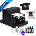 Colorsun Automatic A3 size t shirt printing machine flatbed dtg printer dark color Jeans printer with two tray with textile ink