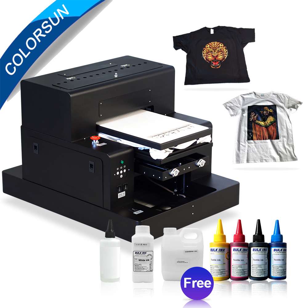 Colorsun Automatische A3 größe t shirt druck maschine pritsche dtg drucker dunkle farbe Jeans drucker mit zwei fach mit textil tinte