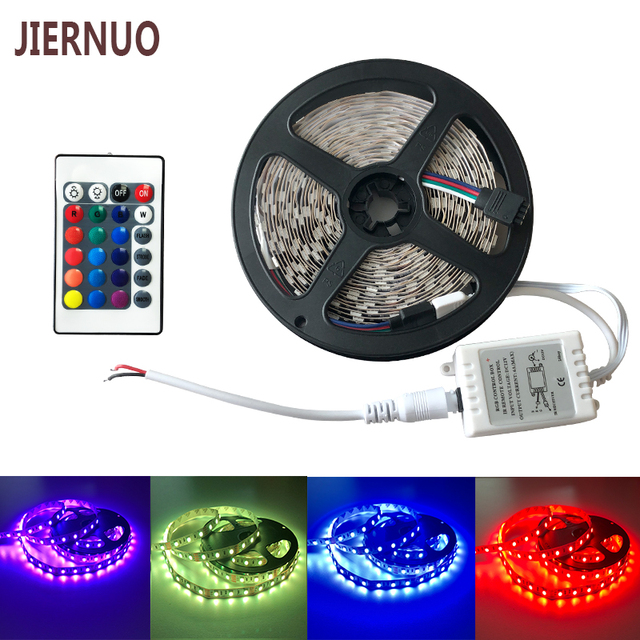 Indoor Flexible LED Strip 5M/Roll SMD5050 DC12V 300D 72W RGBW With 24Button Switches Controller For Christmas Decorating CE RoHS