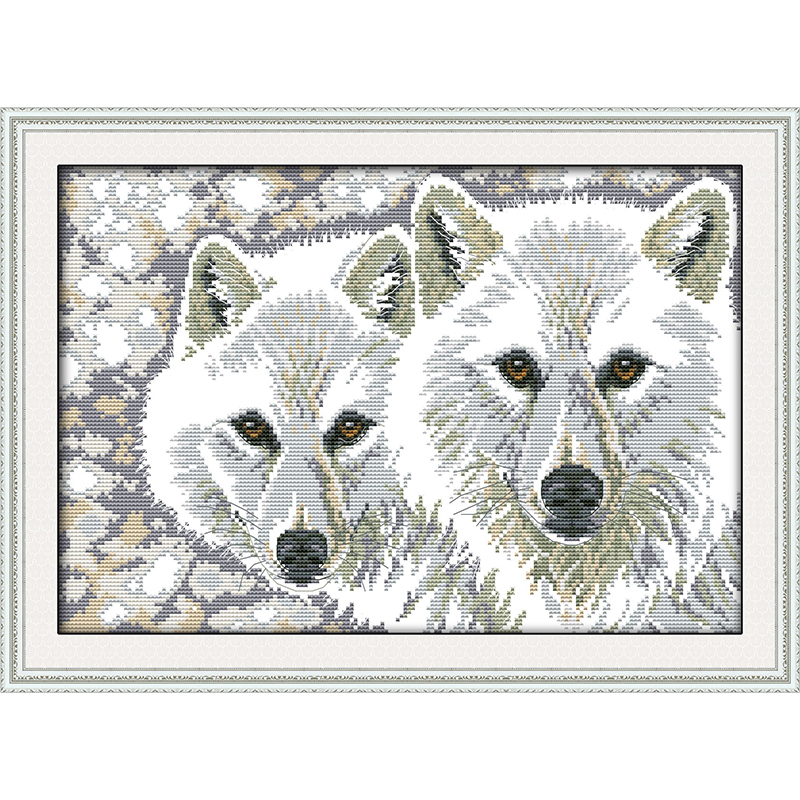 Everlasting love Wolf brothers Chinese cross stitch kits Ecological cotton stamped 11CT DIY gift new year decorations for home