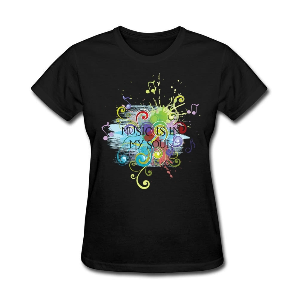 Design t shirt artwork - Feminino Short Sleeve T Shirts Music Is In My Soul Music Note Classical Femmes Awesome Shirt Designs Crewneck Party T Shirt