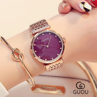все цены на GUOU Brand Fashion Luxury Quartz Watch Women wristwatch crystal Rhinestone Watches Ladies Rose gold steel watch relogio feminino