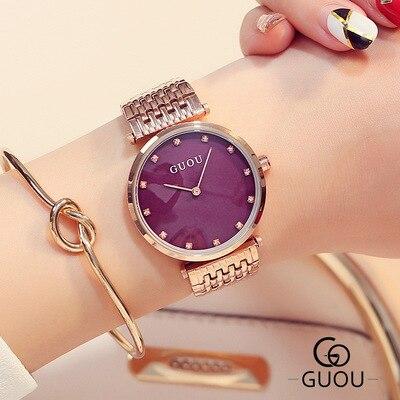 GUOU marque de mode montre à Quartz de luxe femmes montre-bracelet en cristal strass montres dames en or Rose montre en acier relogio feminino