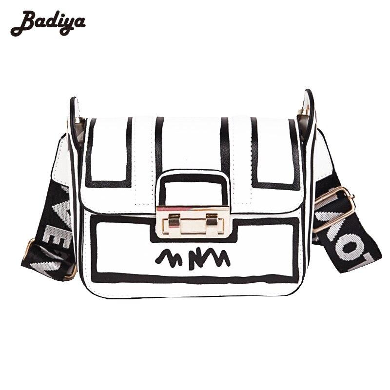 Women Summer PU leather Crossbody Bag Letter Strap Shoulder Bag Turn-Lock Clasp Bag