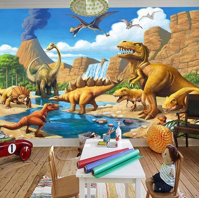custom 3d muurschildering behang lakefront dinosaurus tyrannosaurus rex kinderkamer slaapkamer fotografie achtergrond 3d kids behang