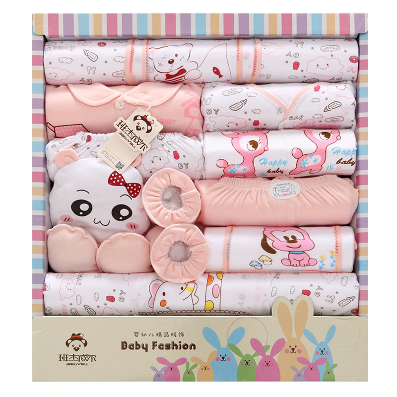 Spring and summer newborn baby underwear supplies baby gift box set baby products newborn baby set 18 pcs 0cm in diameter large space baby hand footed printing mud set newborn baby hand and foot print hundred days old gift souvenir