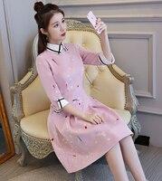 Novelty Pink Women S Mini Cheongsam Fashion Chinese Female Qipao Short Style Dress Spring Vestidos Size
