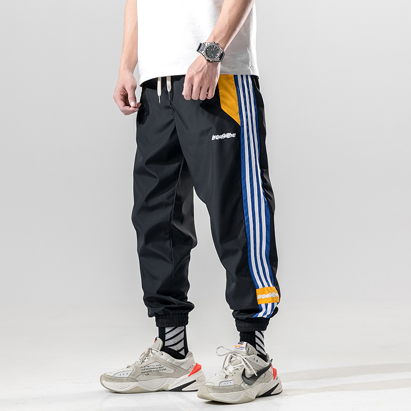 BINHIIRO Men Cargo Pants Casual Cotton Polyester Patchwork Pattern Men Full Length Drawstring Pockets Black Orange Men Trousers