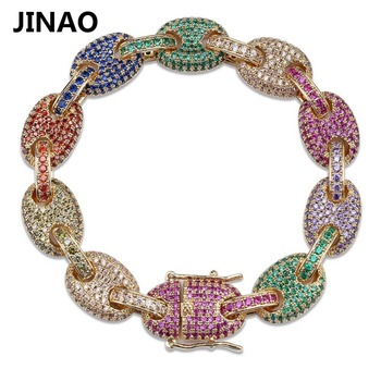 Iced Out Zircon Colored Chain Bracelet Men's Hip hop Jewelry Copper Material Jewelry Clasp Personality CZ Bracelet Link 7/8 inch