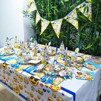 84pcs/set Emoji Smile Banner Happy Birthday Kids Baby Shower Paper Party Decoration Set Theme Supplies Cup Plate Forks Napkin