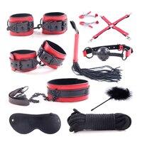 Black Rivets PU Leather Bdsm Bondage Set Slave Mouth Gag Nipple Clamps Handcuffs Eye Mask Women Sex Toys Restraints for Couples