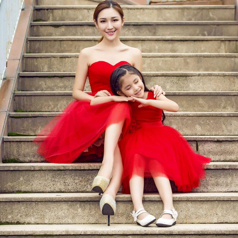 Mère fille robes de mariée rouge maman enfants maman et Duaghter Vestidos correspondant robes de demoiselle d'honneur soirée robe Tutu - 2