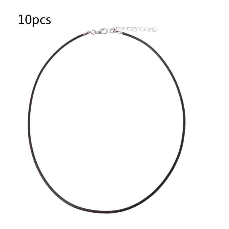 10 sztuk najwyższej jakości czarny jedwab skórzany przewód łańcuch naszyjnik z zapięciem homara pazur