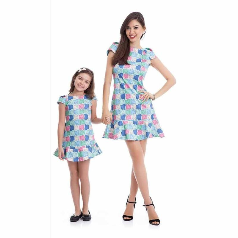Elegant mother daughter dresses Cartoon pattern mom and daughter dress Family Matching Outfits parent child outfits D3-26B