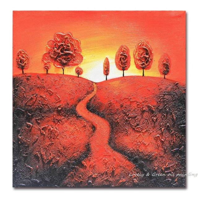 100% Hand Painted Oil Painting Abstract Landscape Paintings Up Underhill Lane Painting For Living Room Decor Wall Art Pictures
