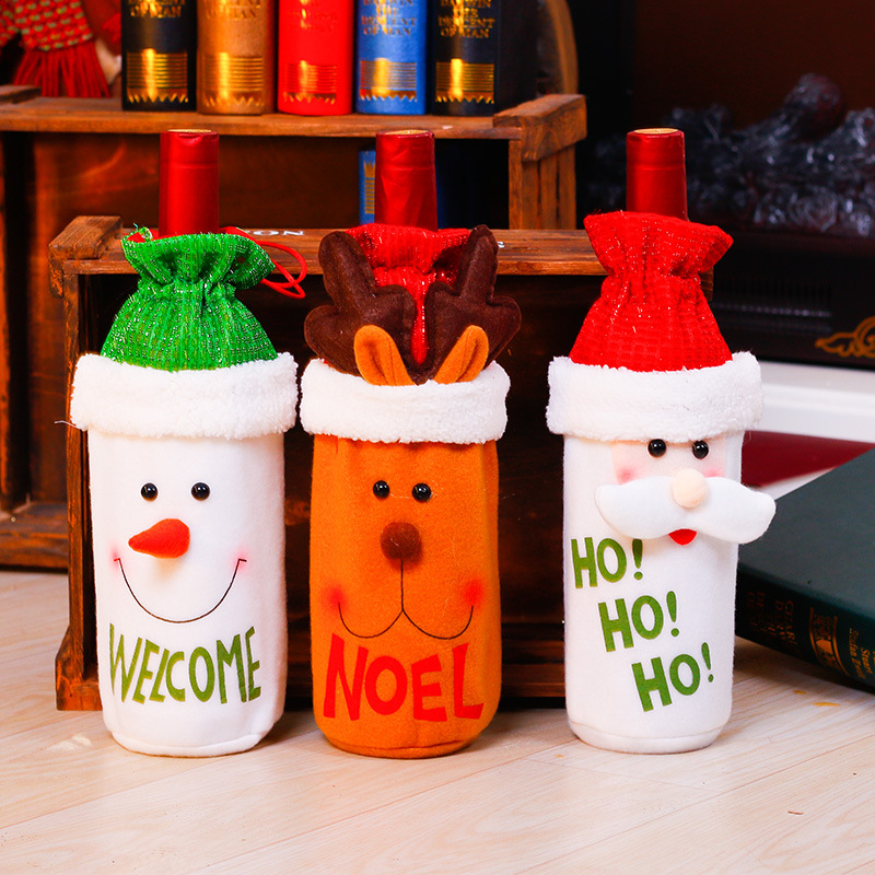 Santa Claus Snowman Elk Red Wine Pouch Restaurant Bottle Champagne Bag Christmas Dinner Table Decoration Home Party BP113