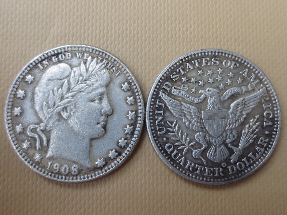 90% серебра или посеребренные США монеты 1908-o Barber КВАРТАЛА ДОЛЛАРОВ Розничная/оптовая продажа США Копировать монеты