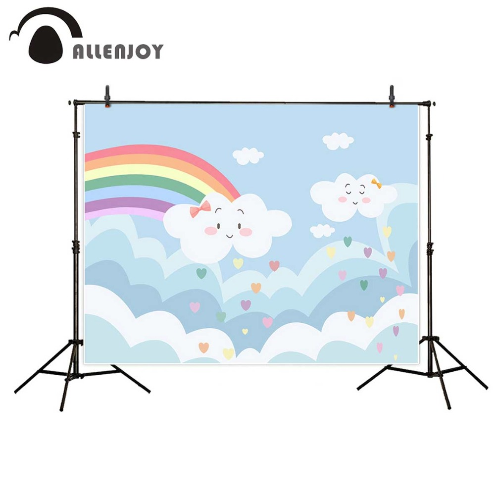 Allenjoy photography backdrops Rainbow Clouds Colorful hearts Lovely Background for children photography background baby allenjoy photography background lovely clouds cotton hearts stars rainbow backdrop photo studio camera fotografica