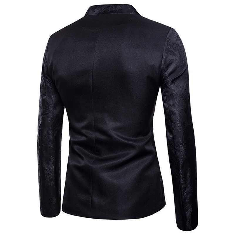 SFIT 男性 2019 固体スーツジャケットブランド新スリムシングルブレスト 1 ボタンタキシードブレザージャケットステージ衣装男性