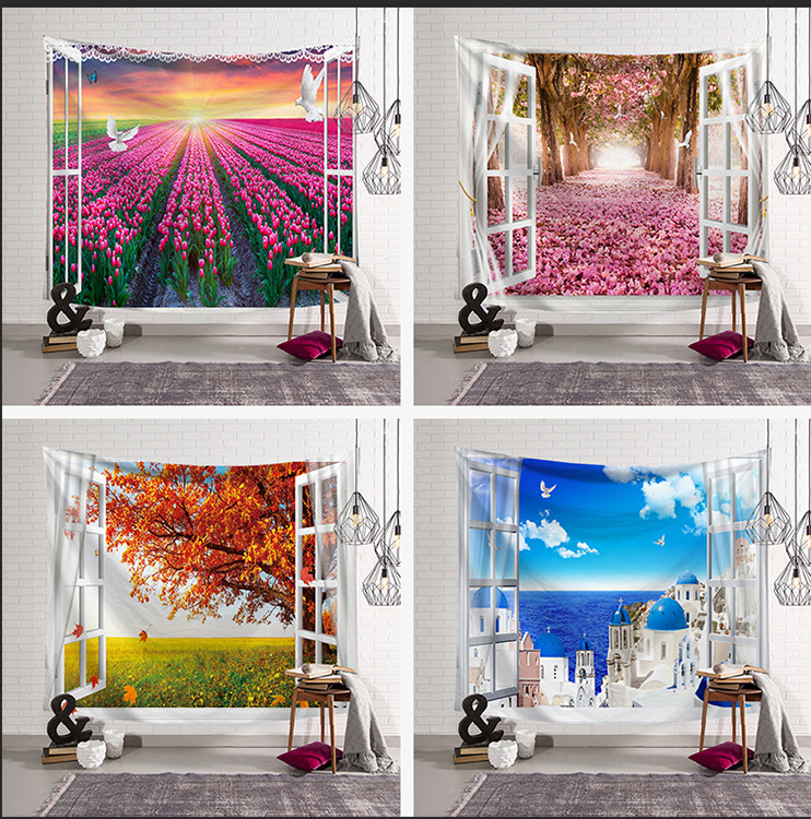 Window Tapestry View Green Plant 3d Purple Flowers Wall Hanging Carpet Blanket Yoga Decoration Towel Home Beach Wall 200x150cm