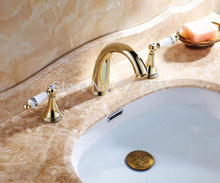 Luxury Golden Dual Handles Basin Faucet Tap Deck Mounted Widespread Bathroom Mixer Tap with Hot and