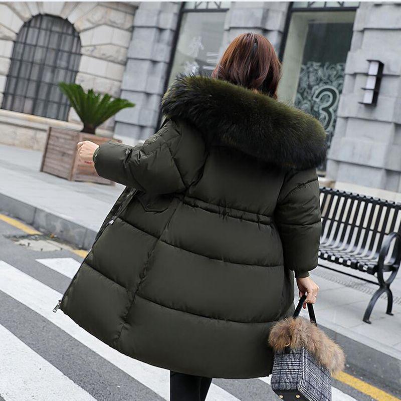 2018 nouvelle mode chaud hiver veste femmes grande fourrure épaisse mince femme veste hiver femmes à capuche manteau vers le bas Parkas Long survêtement
