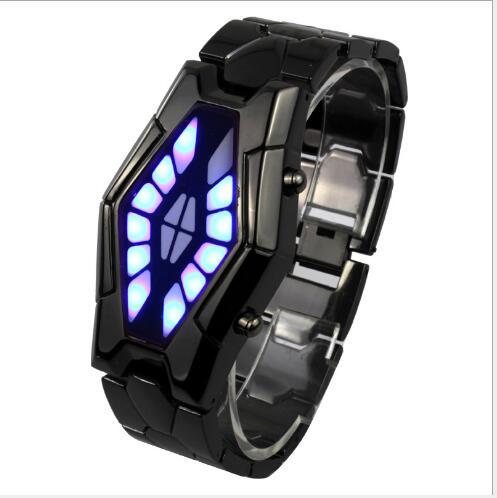 Homem de Ferro Presente do Feriado Moda Inteligente Cobra Cabeça Relógio Eletrônico Estudante Esportes Menino Discoteca Led